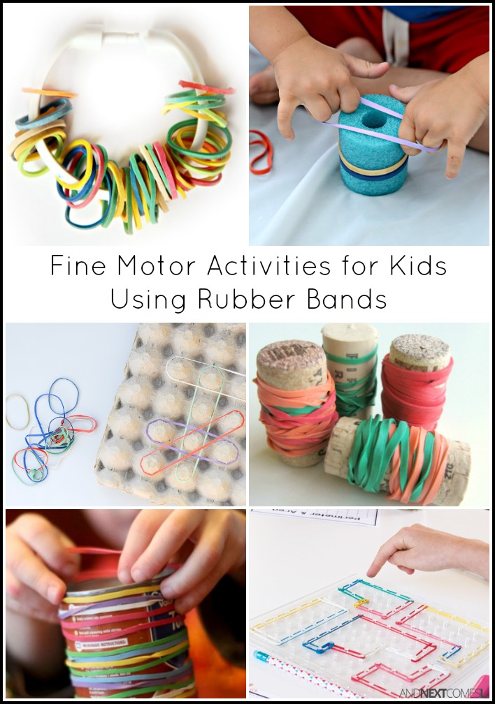 15 simple fine motor activities for kids using rubber bands and next comes l. Black Bedroom Furniture Sets. Home Design Ideas