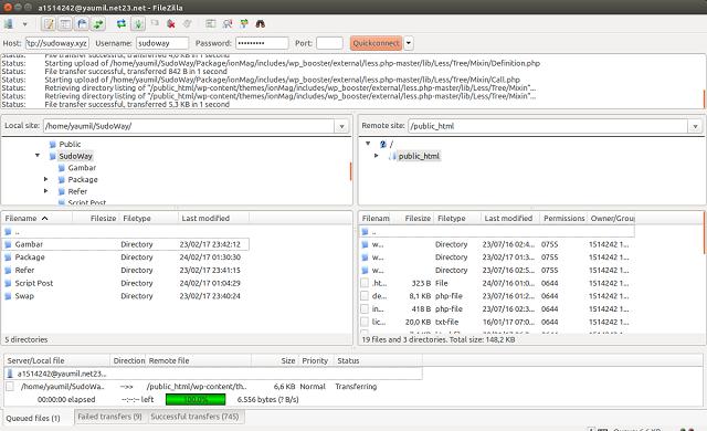 Tampilan FileZilla di Ubuntu Saat Melakukan Upload File