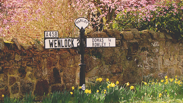Wenlock vintage road sign
