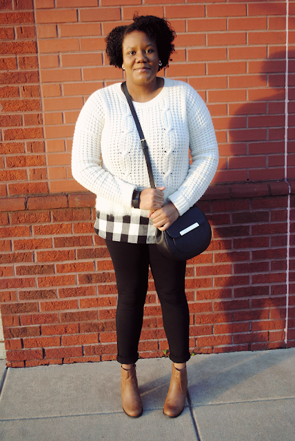 An outfit inspiration post featuring the Madewell Wintermix cable knit sweater, Target ear jackets, and boots from Shop Pink Blush.