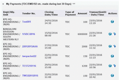 Works Tender BIdders My Payment TDC EMD SD