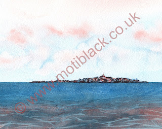 A watercolour painting of the Isle of May