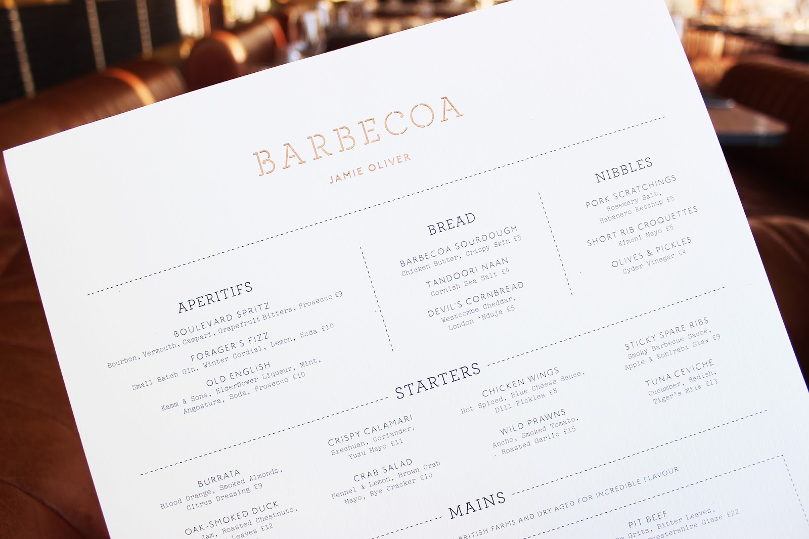 Barbecoa St Pauls review menu