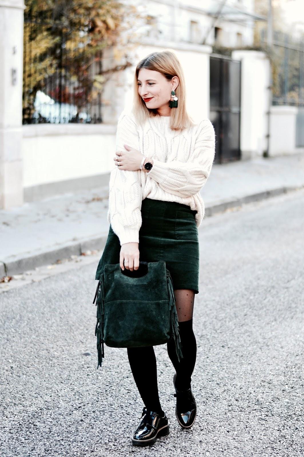 Look femme automne : grosse maille, jupe velours côtelé et collants fantaisie