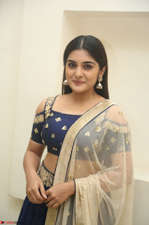Niveda Thomas in Lovely Blue Cold Shoulder Ghagra Choli Transparent Chunni ~  Exclusive Celebrities Galleries 018