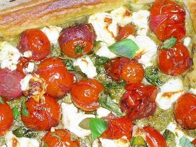 close up of balsamic, tomato and feta cheese tart