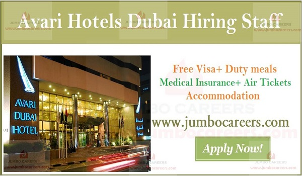 Hospitality jobs in Avari hotel Dubai, Dubai 4 star hotel jobs with free visa,