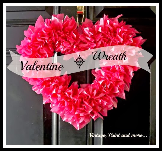 Tissue Paper Valentine Wreath - wreath made from torn tissue paper glued to foam core shape