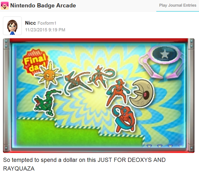 Nintendo Badge Arcade addicted gambling Miiverse user one more dollar Deoxys and Rayquaza