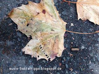 Stanzabdruck einer Schuhsohle auf einem Herbstblatt