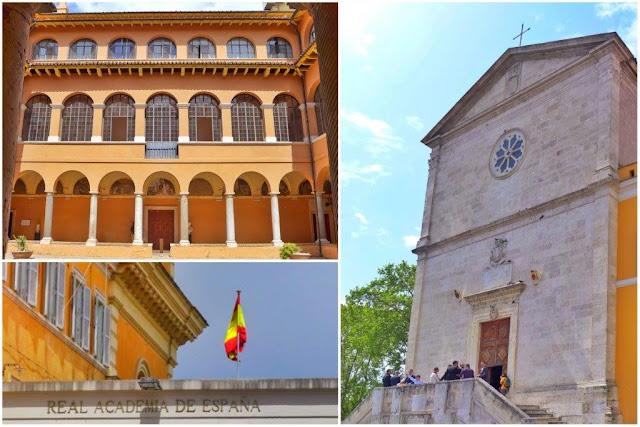 Academia de España en Roma en el Gianicolo  y la iglesia de San Pietro in Montorio
