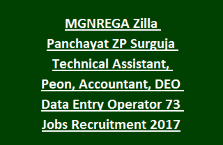 MGNREGA Zilla Panchayat ZP Surguja Technical Assistant, Peon, Accountant, DEO Data Entry Operator 73 Jobs Recruitment 2017