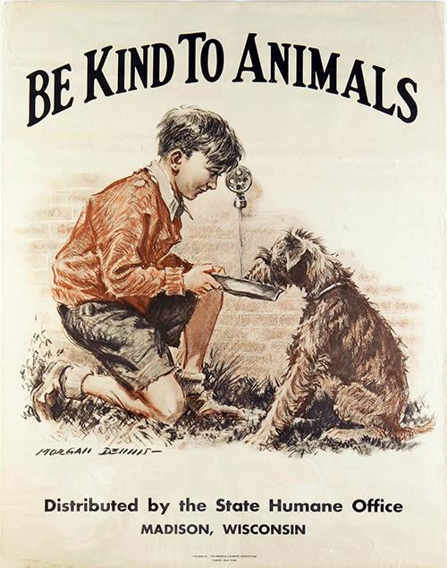 Be Kind to Animals - Vintage Poster, advertising, animal poster, be kind to animals, cat, classic posters, dog, free download, free posters, free printable, printables, retro prints, vintage, vintage posters, vintage printables, wildlife
