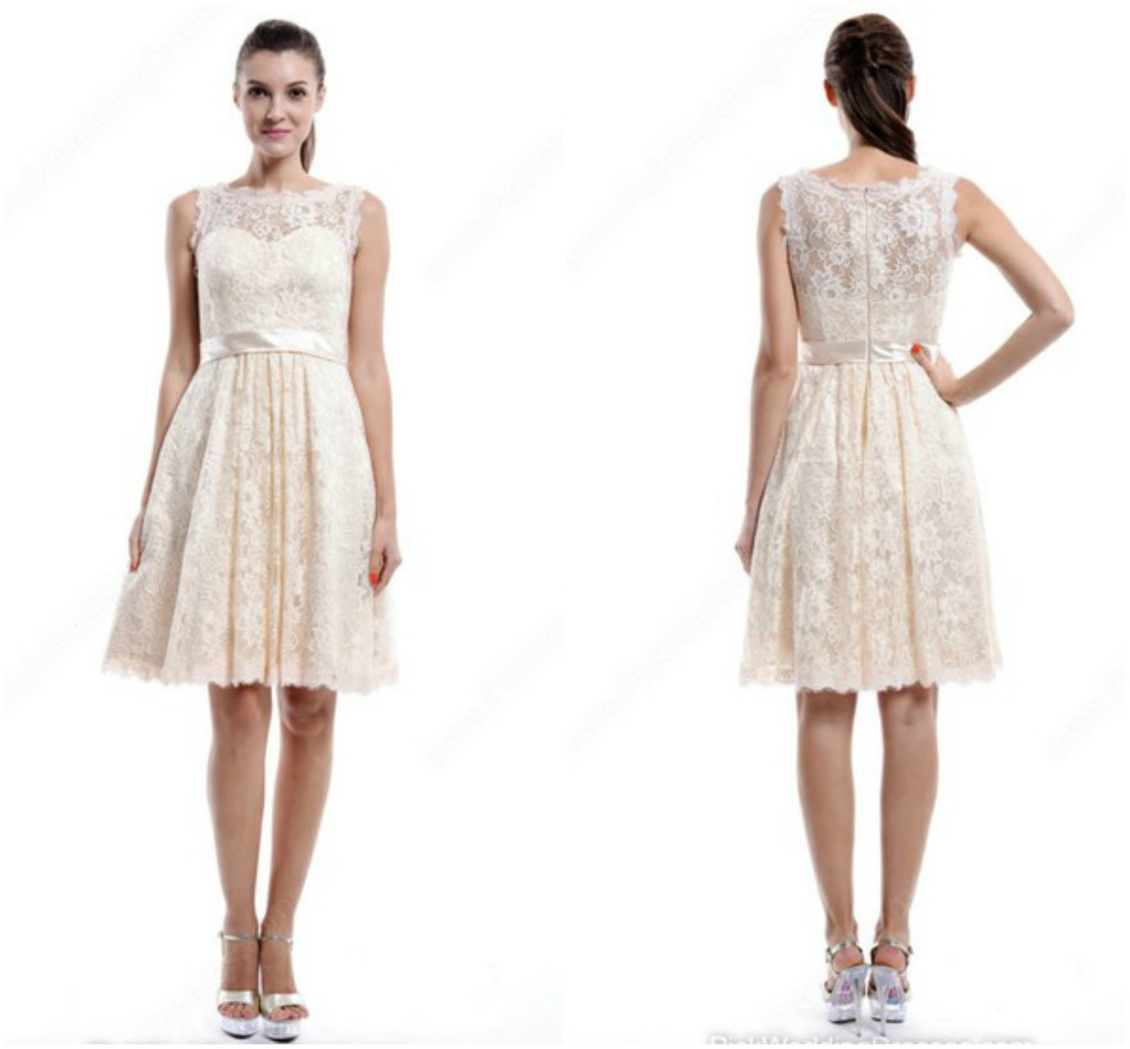 Discount Scoop Neck Ivory Sashes/Ribbons Knee-length Lace Bridesmaid Dress