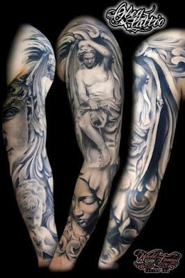 vemos a un hombre con el tatuaje de un angel caido