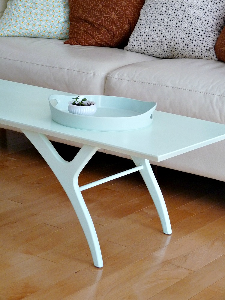Mint painted table makeover