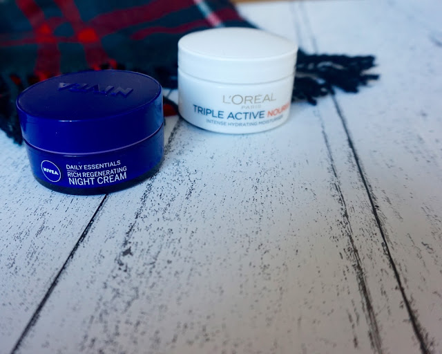 beauty blog, beauty blogger, dry skin, hannah rose, hanrosewilliams, L'Oreal Triple Active Nourish 24hr Hydrating Moisturiser, Nivea Daily Essentials Rich Regenerating Night Cream, review,