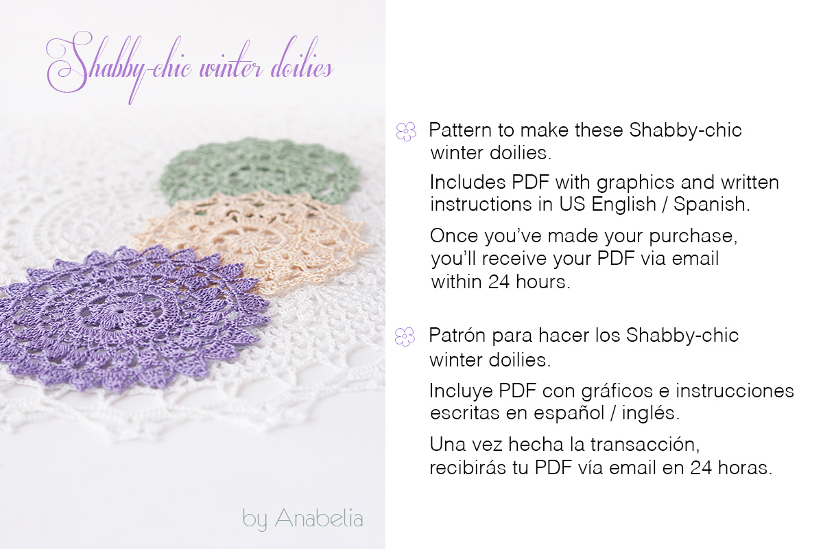 Shabby-chic winter doilies 1, 2, 3