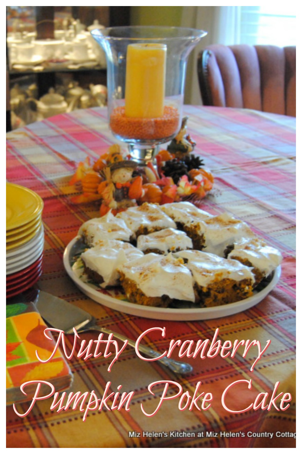 Nutty Cranberry Pumpkin Poke Cake