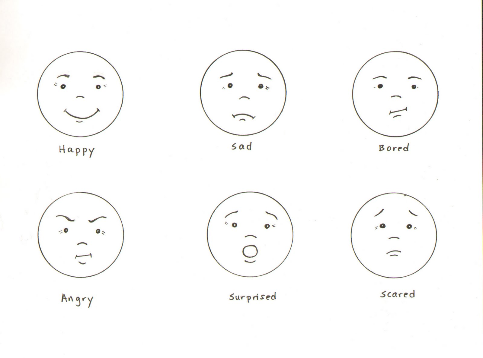 Emotions Draw The Faces Worksheet