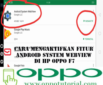 Cara Mengaktifkan Fitur Android System Webview di HP OPPO F7