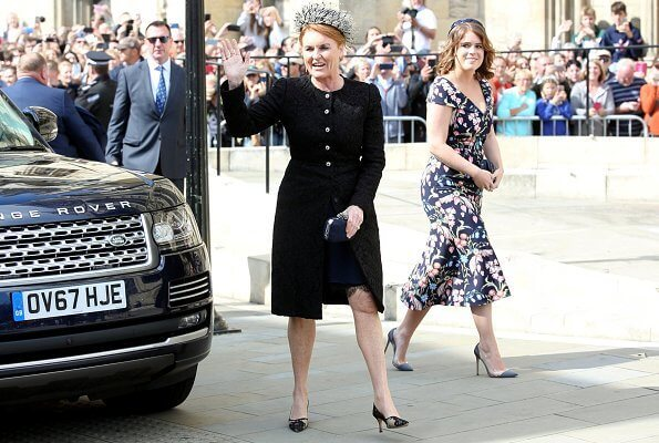 Princess Eugenie wore Peter Pilotto floral print dress. Princess Beatrice wore The Wampire's Wife leaf print midi dress