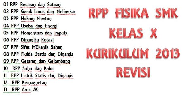 Rpp Dan Silabus Fisika Smk Kelas X K13 Revisi 2020 Kurikulum 2013
