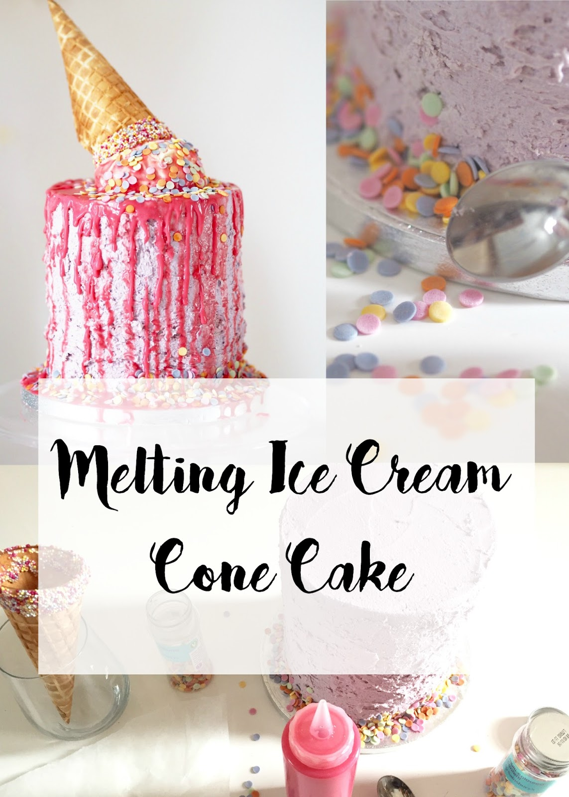 DIY How To Make Your Own Melting Ice Cream Cone Cake