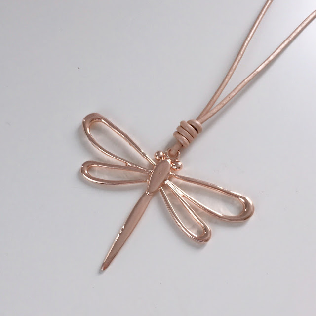 Rose gold large dragonfly pendant