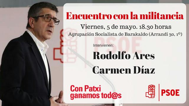 Cartel del acto de campaña de Rodolfo Ares en favor de Patxi López