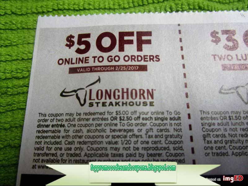 graphic about Longhorn Steakhouse Printable Coupons referred to as Totally free Promo Codes and Discount codes 2019: Longhorn Steakhouse Coupon codes