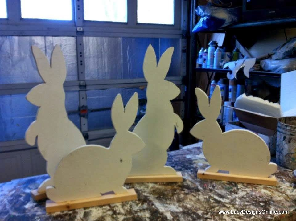 unfinished wooden bunnies