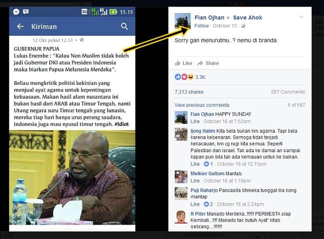 """ini Fakta Lukas Enembe Tidak Pernah Bilang """"Kalau Non Muslim tidak boleh jadi Gubernur DKI atau Presiden Indonesia maka biarkan Papua Melanesia Merdeka"""""""