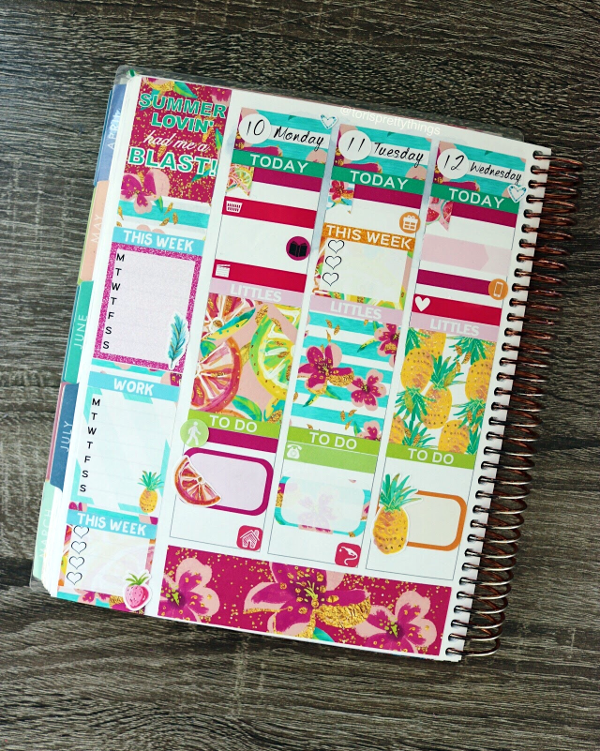 Simply A Mess Summer Lovin' Sticker Kit - First Half of the Week -  July Weekly Erin Condren Planner Spread - Tori's Pretty Things Blog