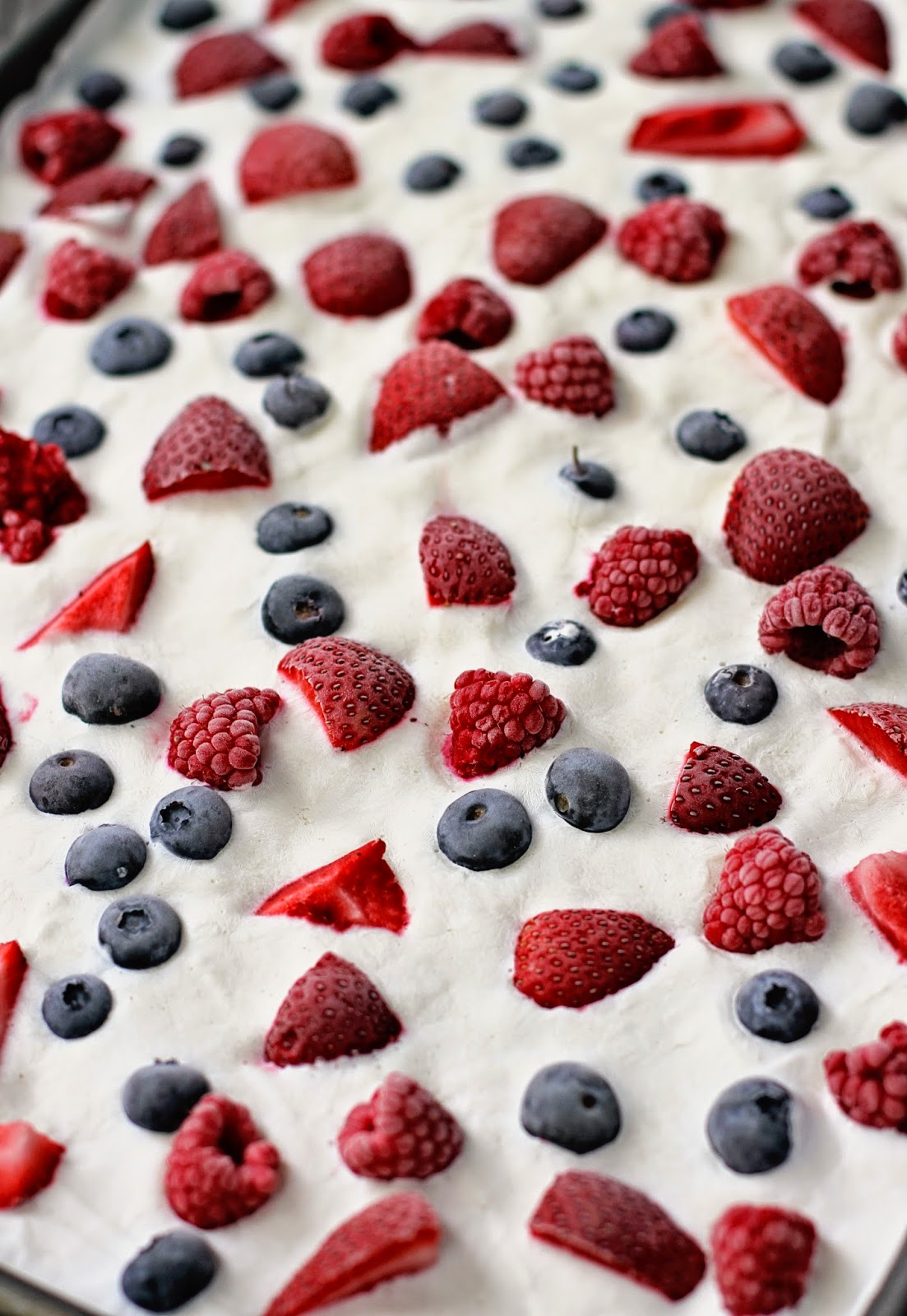 Red, White & Blue Frozen Yogurt Vanilla Berry Bark