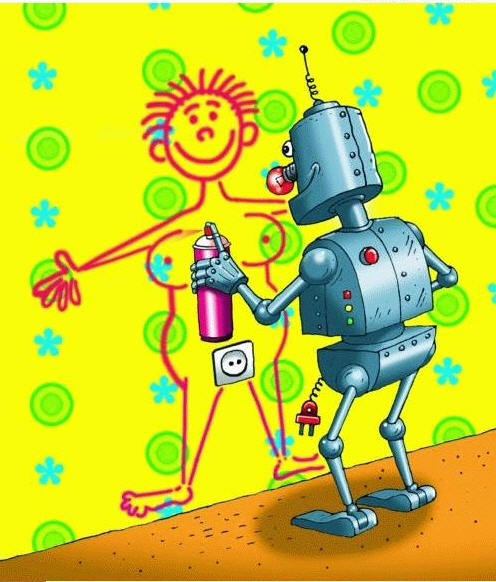 robot dessinant une femme sur un mur autour d'une prise électrique à la place du sexe