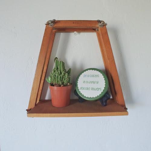 Upcycled Tennis Racket Press Shelf