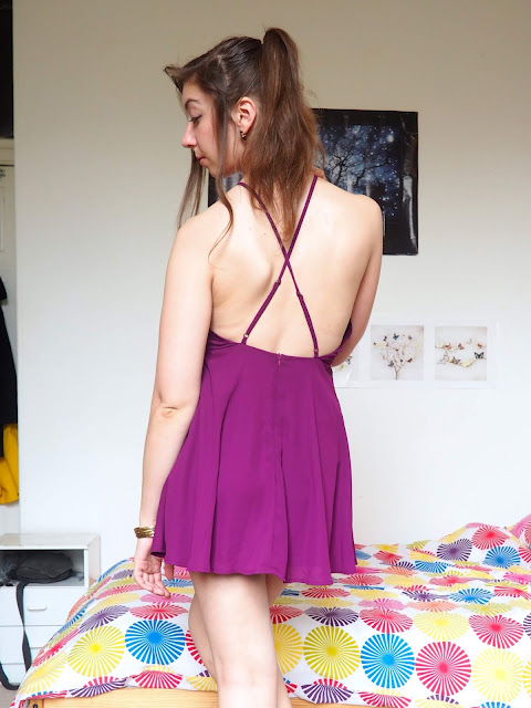 Disneybound outfit as Meg from Hercules - short, bright purple, backless dress
