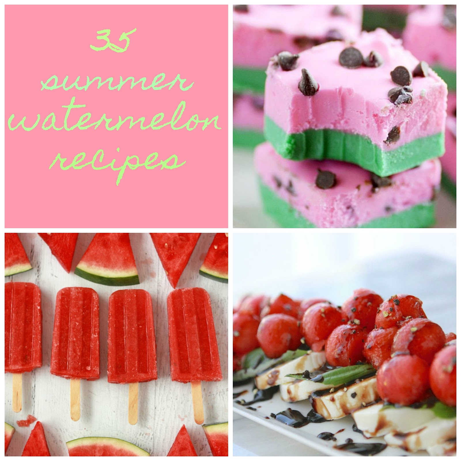 A bank of watermelon recipes for summer use filled with creativity and tastiness!