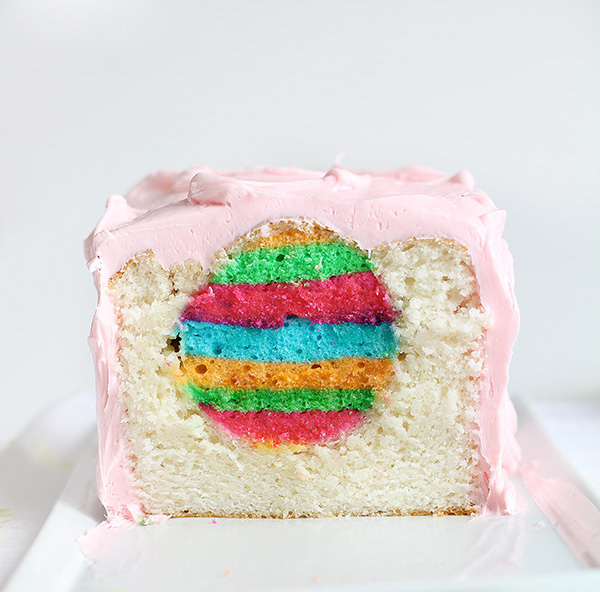 surprise cake with rainbow center
