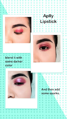 eye makeup tutorial using lipstick