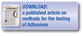 Download a published article covering methods for the testing of adhesives