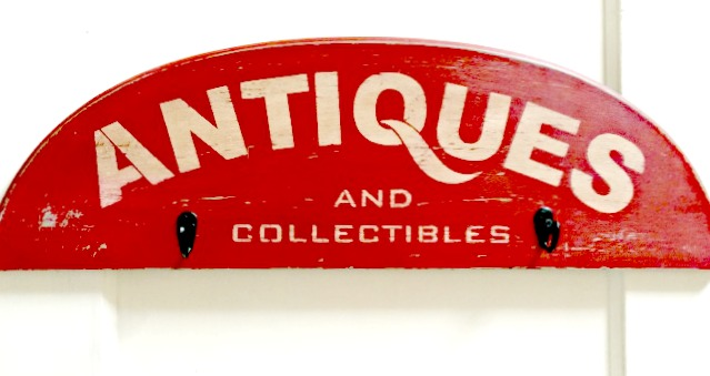 Stenciled Antiques and Collectibles Sign