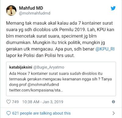 Mahfud MD soal Hoaks Surat Suara Dicoblos: Trik Politik untuk Mengacau