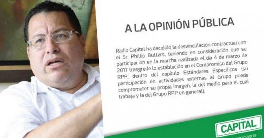 PHILLIP BUTTERS: Periodista fue despedido de Radio Capital