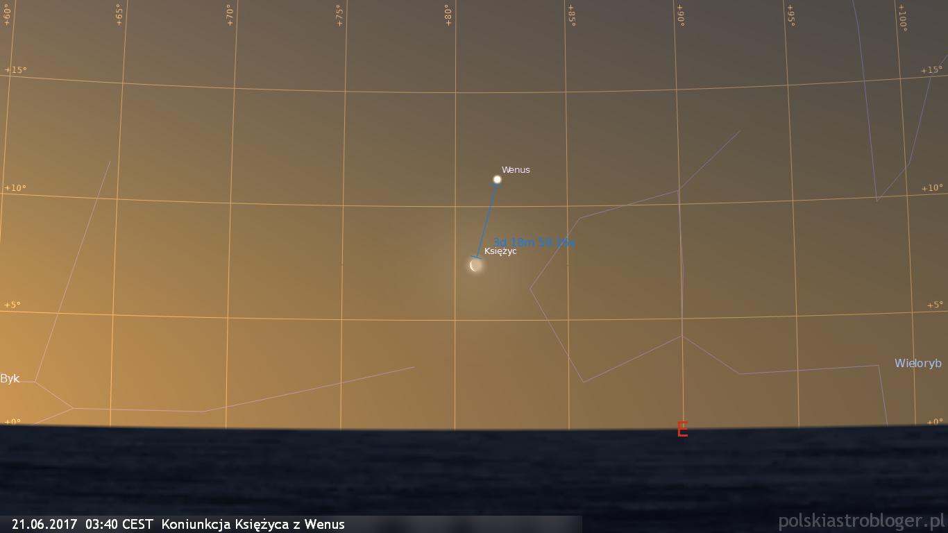 21.06.2017  03:40 CEST  Koniunkcja Księżyca z Wenus