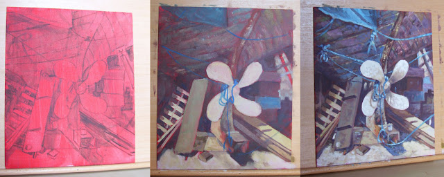 acrylic painting in stages boat propeller