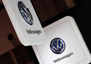 Volkswagen's logos are pictured at the 45th Tokyo Motor Show in Tokyo, Japan October 25, 2017. (Credit: Reuters/Kim Kyung-Hoon/File Photo)  Click to Enlarge.