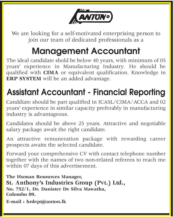 Management Accountant / Assistant Accountant