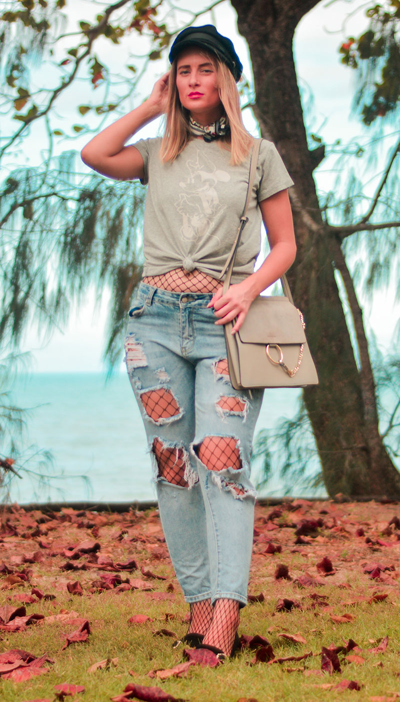 baker boy hat outfit with t shirt distressed boyfriend jeans fishnet tights blogger street style